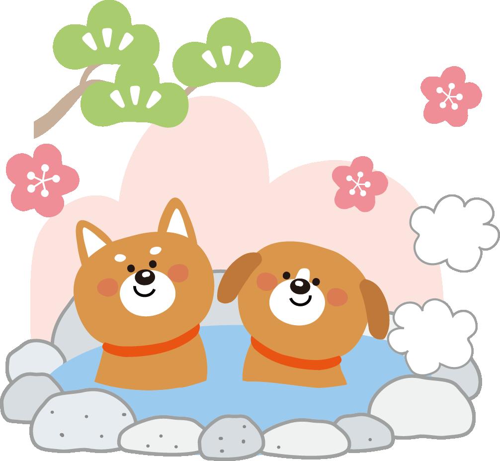 年賀状2018イラスト無料(いぬ・犬のイラスト)犬の温泉とコタツ