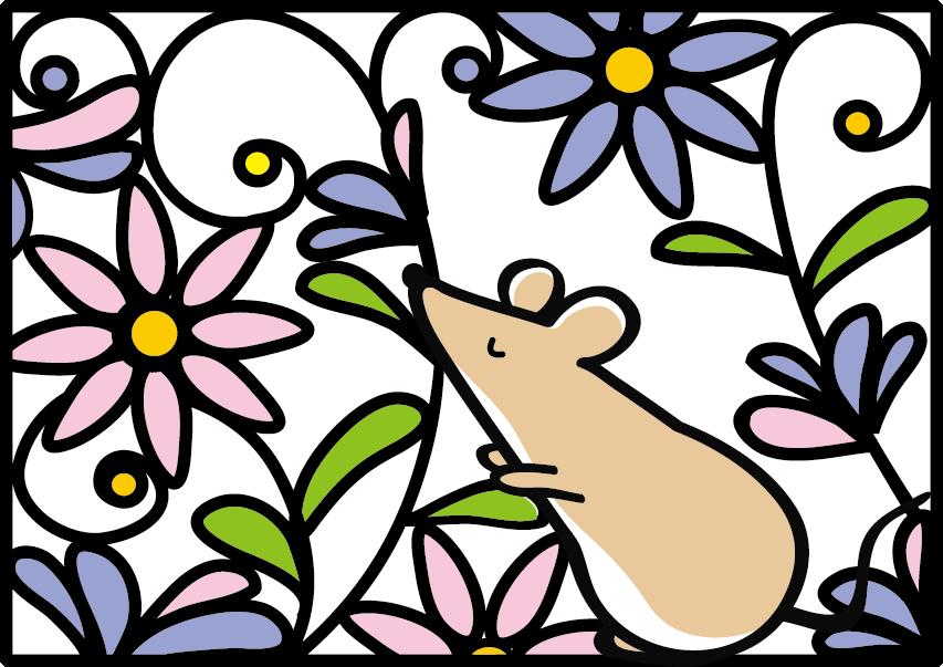 年賀状2020無料イラスト 切り絵風ねずみと花